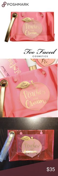 NEW Too Faced Peaches & Cream Makeup Bag Brand new, never used. Direct from the Too Faced site. This super cute bag is durable vinyl with a vegan leather gold handle and two snaps at the top. Can hold all your goodies for a weekend getaway! Peaches and Cream logo on the front and Too Faced logo on reverse side. Translucent bright vinyl, eye catching and adorable!  Guaranteed authentic. From my smoke free home. Too Faced Bags Cosmetic Bags & Cases