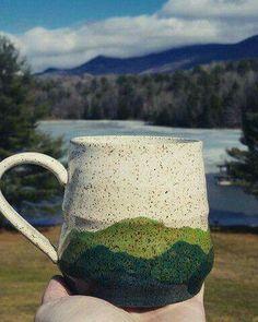 Ceramic mountain mug -- speckled and glazed