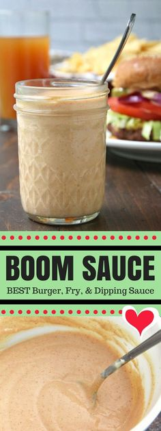 """Boom Sauce Recipe an easy burger and fry sauce recipe that is great on other things like sandwiches chicken salads and even fish! My family also calls this addictive sauce our """"secret sauce"""" because we use it as a dipping sauce for just about everything! Burger Sauces Recipe, Sandwich Sauces, Fries Recipe, Aioli Recipe For Burgers, Copycat Bbq Sauce Recipe, Shrimp Sauce Recipe Easy, Burger Bombs Recipes, Sauces For Sandwiches, Sauces"""