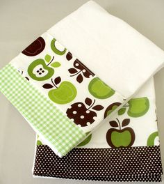 Kitchen towel with apple pattern in green by SeamlessExpressions, $26.00