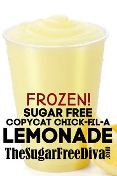 Sugar Free Copycat Chick-fil-A Frozen Lemonade sugarfree copycat lemonade diy homemade beverage drink yummy recipe 62768988543560361 Sugar Free Drinks, Sugar Free Desserts, Sugar Free Recipes, Low Carb Desserts, Sugar Free Baking, Sugar Free Lemonade Recipe, Sugar Free Frosting, Sugar Free Cheesecake, Lemon Recipes