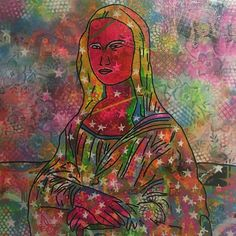 "33 Likes, 1 Comments - Barrie J Davies (@barriejdavies) on Instagram: """"Lisa mona"" by Barrie J Davies 2017, mixed media on canvas, 90cm x 90cm 😃😃😃😃 Visit my website…"""