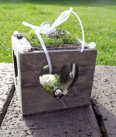 Ringkissen Ringhalter Herz Box grau grün für Eheringe zur Hochzeit Liebe