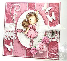 Ballerina Tilda from Magnolia Cards Butterfly Crafts, Beautiful Handmade Cards, Copics, Diy For Girls, Card Tags, Kids Cards, Magnolias, Greeting Cards Handmade, Scrapbook Cards