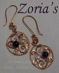 """Set # 175 """"Open Hearts""""  A Zoria's Creation. Krista DeSelms © 2011  Genuine Fresh Water Pearls and Amethyst wrapped in Copper wire.    $78.00    Zoria's hand made Wire Wrapped Jewelry by Krista - Wire Wrapped Earrings – FOR SALE – www.Zorias.com #Wire #Wrapping"""