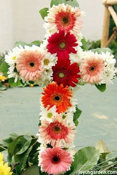 Flower Friday: Fiesta Flower Arrangements. A cross made from gerber daisies, mums & lemon leaf.