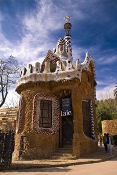 House in Park Güell designed by Antoni Gaudi, Barcelona, Spain Architecture Antique, Beautiful Architecture, Beautiful Buildings, Art And Architecture, Architecture Details, Modern Buildings, Antonio Gaudi, Parc Guell, Unusual Homes