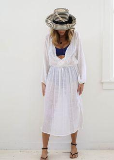 Las Aves Dress, White, O/S