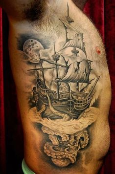 Beste Piratenschiff Tattoo Designs & Bedeutungen - Masters of the Seas - Tattoo Ideen Nautical Tattoo Sleeve, Octopus Tattoo Sleeve, Octopus Tattoos, Map Tattoos, Bild Tattoos, Sleeve Tattoos, Pirate Map Tattoo, Pirate Ship Tattoos, Tattoo Designs And Meanings