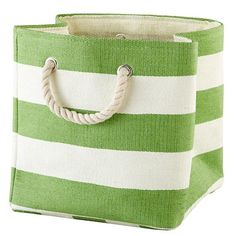 The Land of Nod | Stripes Around the Cube Bin (Green) in Tabletop Storage $12.95-- for blankets, magazines, etc