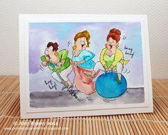 Girlfriends 2014 ... Hop Hop Set (Sku#4384) Art Impressions Ai Girlfriends line.  Handmade birthday card. water color watercolor