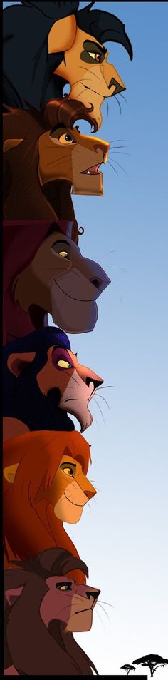 Lion king generations- 1st- Mohatu 2nd- Ahadi 3rd- Mufasa 4th- Scar 5th- Simba 6th- Kovu