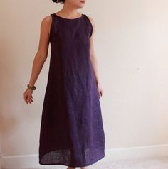 custom slim shoulder linen dress made to fit listing Boho Outfits, Dress Outfits, Minimalist Dresses, Purple Dress, Dress Black, Simple Dresses, Dress Making, Girls Dresses, Trending Outfits