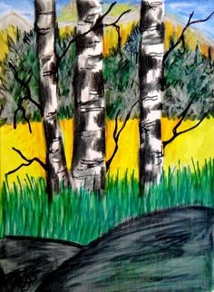 "Aceo  Original  ATC OOAK    ""BIRCHES""   pencil/ink  #OutsiderArt"