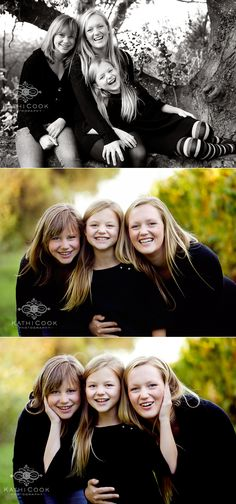 Black and white portraits of sisters together for their photography session