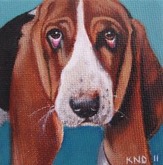 Basset Hound Miniature Painting with Easel by aBrushWithLove