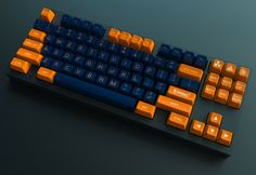 Maxkey SA Nuclear is an MX-compatible high quality doubleshot ABS keyset for mechanical keyboards in a vibrant, high-contrast orange/blue color scheme.