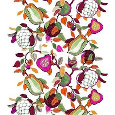 Add a pop of color into your home with the fun Fruity fabric by Vallila Interior, designed by Saara Kurkela. The fabric is made of a cotton and polyester mix and has a large-scale pattern of fruits and flowers. The fabric is great for curtains or for making your own tablecloths or cushion covers. Available in different colors.