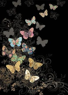 Bug Art butterfly flight greetings card Embossed with gold and blue foil. Butterfly Background, Butterfly Quilt, Butterfly Wallpaper, Galaxy Wallpaper, Wallpaper Backgrounds, Butterfly Artwork, Black Wallpaper, Cellphone Wallpaper, Iphone Wallpaper