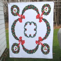 Vintage Christmas Tablecloth  Wreaths by VintageCreekside on Etsy, $25.00