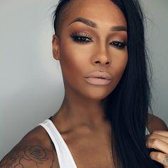black girl, nude makeup, black womens inspiration, light beige lipstick