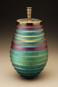 Hideaki Miyamura.  |  Carved vase with blue hare's fur glaze.  http://www.miyamurastudio.com