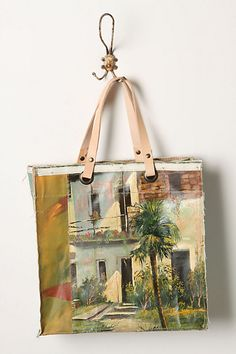 These are made from oils on canvas.  Looking for an old picture to do this with.  Original Still Life Bag, Tropical Retreat - Anthropologie.com