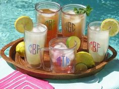 Monogrammed Tervis Tumblers. My last count, I have I think 52 :) Ha....If it's not in a wine glass, it's in a Tervis!