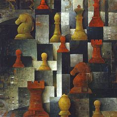 """Galleria scorrevole.                                              Sergio Cerchi, italian painter (Firenze), """"Chess"""", oil on canvas."""
