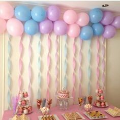 Decorations and party table That was so much fun … -… Girls Tea Party Birthday. Baby Shower Food Easy, Fiesta Baby Shower, Baby Girl Shower Themes, Food Baby, Simple Birthday Decorations, Baby Shower Table Decorations, Balloon Decorations Party, Anniversary Decorations, Cake Table Birthday