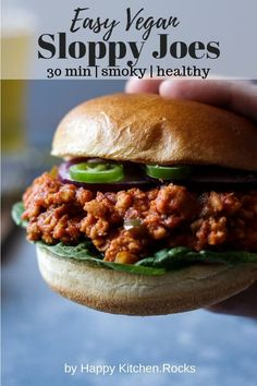 Low Carb Recipes To The Prism Weight Reduction Program These Mouthwatering Vegan Sloppy Joes Made In Jut 30 Minutes Are The Perfect Addition To Your Vegan Sandwich Collection Satisfying Comfort Food Vegan Meal Perfect For Meal Prep. Vegan Meat Recipe, Vegetarian Recipes, Tofu Recipes, Burger Recipes, Vegan Meals, Vegan Food, Slow Cooker Vegan Chili, Vegetarian Sloppy Joes, Flammkuchen Vegan