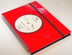 DIN A5 - Notizbuch Schallplatte upcycling aus red Vinyl - ein Designerstück von…