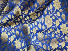 Silk Brocade Fabric Remnant in Blue and Gold - Gold Banaras Silk Fabric Remnant - Dress Material for Weddings by yard