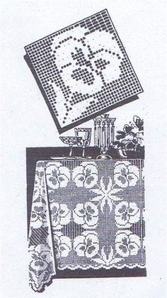 Crochet Pattern 7348 Vintage 1960S Crochet Pattern Filet Square W Pansies