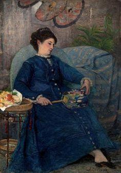Jules Le Coeur - Portrait de jeune lle assise à l'éventail