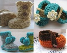 Adorable crochet shoe patterns! My favorite one is the teal shoe with the flower; I am going to figure out how to make these some day.