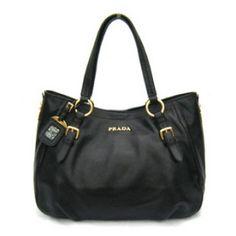 £146.00 Official Prada Leather Cervo Shoulder Bag Br4085 Black Stores
