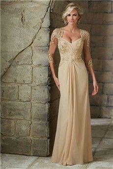 Sheath/Column Asymmetrical Floor-length Chiffon Mother of the Bride Dress