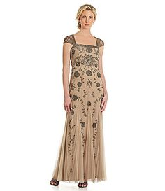 Adrianna Papell CapSleeve FloralBeaded Gown #Dillards