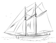How to draw a sailing ship | Step by step Drawing tutorials