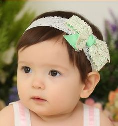 bef6a875694f Aliexpress.com   Buy Fashion Headband Lace and Bowknot Styling Hair Band  For Kids Baby Girls Enfant Headbands Green Color from Reliable headband  wholesaler ...