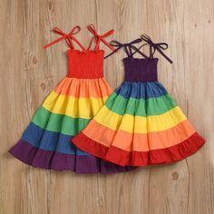 Light Effect, Rainbow, Summer Dresses, Purple, Red, Cotton, Fashion, Infant Dresses, Girls Dresses