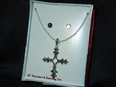 Vintage gothic look black silver necklace cross pendant & pierced earring set