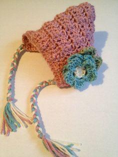 Handmade crochet bonnet baby beanie baby hat infant cap  Easter bonnet. $15.00, via Etsy.