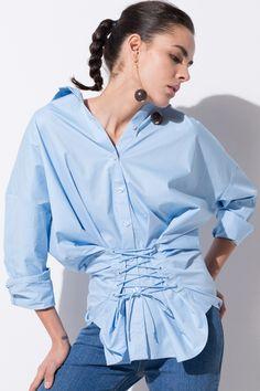 FRS Pale Blue Lace Up Shirt - FrontRowShop