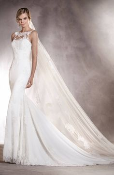 High Neck Sheath Wedding Dress  with Dropped Waist in Lace. Bridal Gown Style Number:33477316