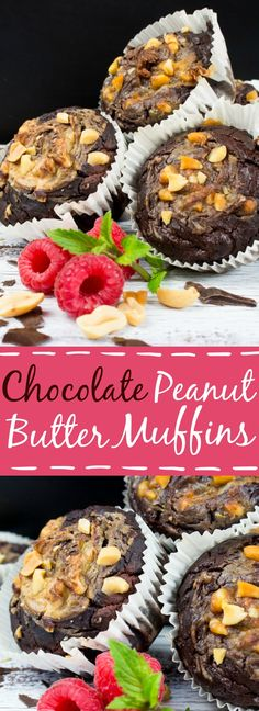 These peanut butter chocolate muffins are the perfect treat - they're vegan, moist, made with whole wheat flour and zucchini, and super delicious! #vegan #muffins #zucchinimuffins #peanutbuttermuffins #veganmuffins