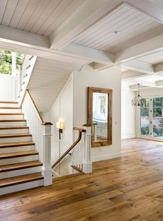 Natural wood with cottage white walls, white railing. Love the floors and the stairs Natural wood with cottage white walls, white railing. Love the floors and the stairs Style At Home, Natural Wood Flooring, Wide Plank Flooring, White Walls, White Wood, My Dream Home, Home And Living, Living Room, Home Fashion