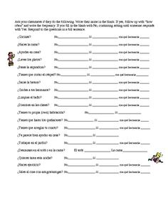 20 questions for students to ask each other regarding chores and what they have to do around the house. Students ask the question orally and write down the names of their classmates according to their responses. Great way to get the students speaking Spanish!