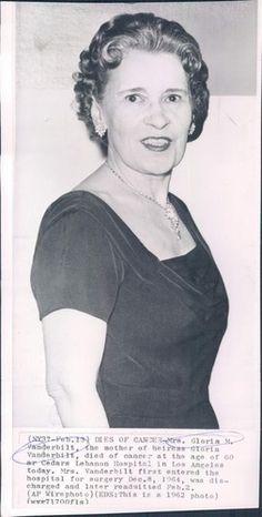 1962 MRS GLORIA M VANDERBILT DIED OF CANCER WIRE Photo